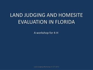 LAND JUDGING AND HOMESITE EVALUATION IN FLORIDA