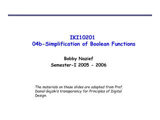 IKI10201  04b-Simplification of Boolean Functions