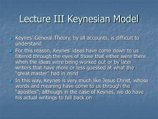 Lecture III Keynesian Model