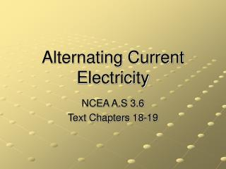 Alternating Current Electricity