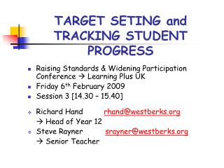 TARGET SETING and TRACKING STUDENT PROGRESS
