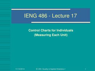 IENG 486 - Lecture 17