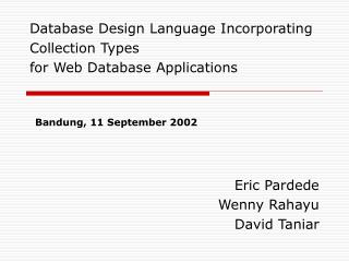 Database Design Language Incorporating Collection Types for Web Database Applications