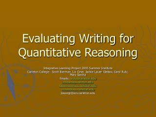 Evaluating Writing for Quantitative Reasoning