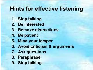 Hints for effective listening