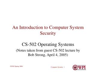 An Introduction to Computer System Security