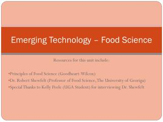 Emerging Technology � Food Science