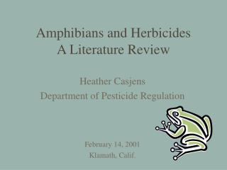Amphibians and Herbicides A Literature Review
