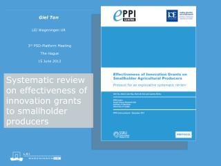 Systematic review on effectiveness of innovation grants to smallholder producers