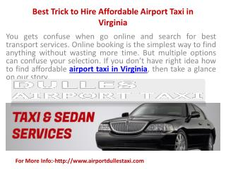 Best Trick to Hire Affordable Airport Taxi in Virginia