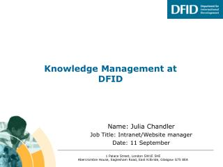 Knowledge Management at DFID
