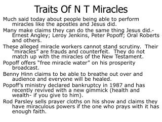 Traits Of N T Miracles