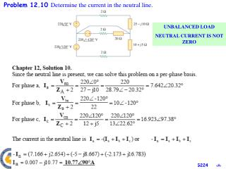 Problem  1 2 . 10  Determine the current in the neutral line.