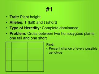 Trait:  Plant height Alleles:  T (tall) and t (short) Type of Heredity:  Complete dominance