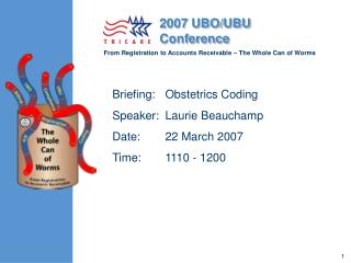 Briefing:	Obstetrics Coding Speaker:	Laurie Beauchamp Date:	22 March 2007 Time:	1110 - 1200