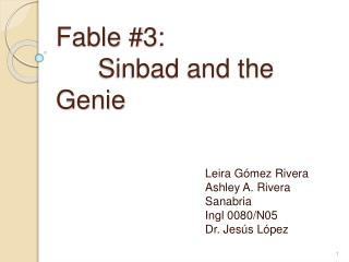 Fable 3:    Sinbad and the Genie