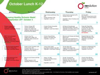 October Lunch K-12
