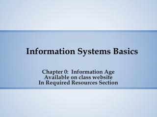 Information Systems Basics