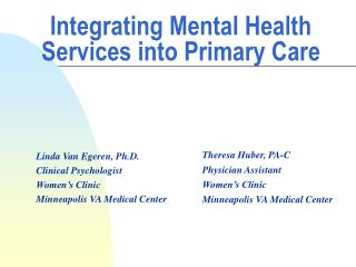 Integrating Mental Health Services into Primary Care