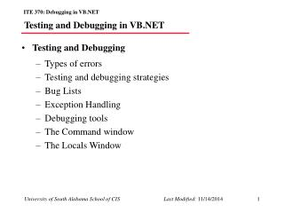 Testing and Debugging in VB.NET