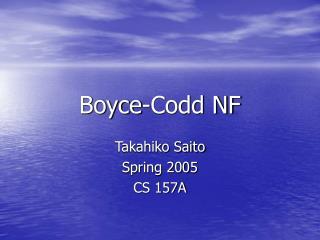 Boyce-Codd NF