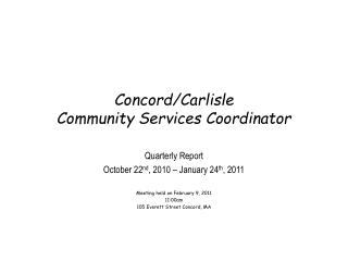 Concord/Carlisle  Community Services Coordinator