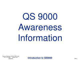 QS 9000 Awareness Information