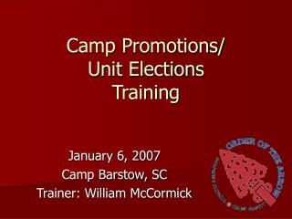 Camp Promotions/ Unit Elections Training