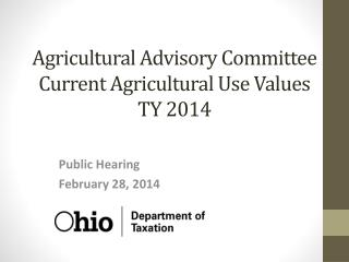 Agricultural Advisory Committee Current Agricultural Use Values TY 2014