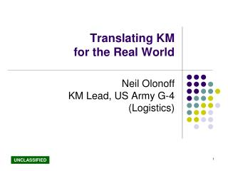 Translating KM  for the Real World
