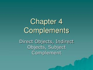 Chapter 4 Complements