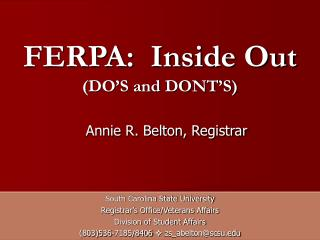 FERPA:  Inside Out (DO'S and DONT'S)