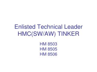 Enlisted Technical Leader  HMC(SW/AW) TINKER