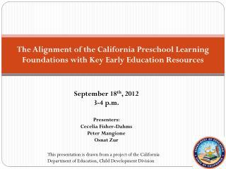 September 18 th , 2012 3-4 p.m. Presenters:       Cecelia Fisher-Dahms Peter Mangione Osnat Zur