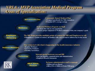 NRLA - MVP Association Medical Program Areas of Specialization:
