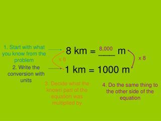 8 km = ___ m