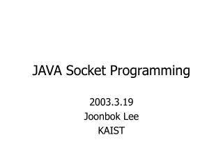 JAVA Socket Programming