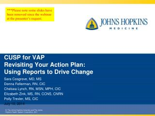 CUSP  for VAP Revisiting Your Action Plan:  Using Reports to Drive Change