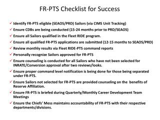 FR-PTS Checklist for Success