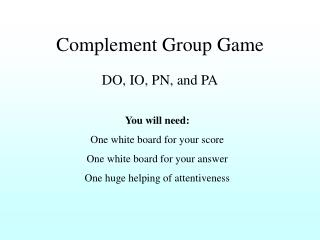Complement Group Game