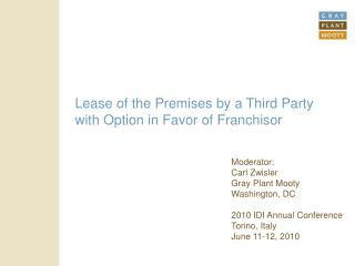Lease of the Premises by a Third Party with Option in Favor of Franchisor