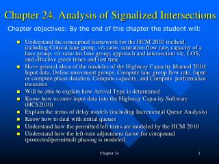 Chapter 24. Analysis of Signalized Intersections