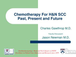 Chemotherapy For H&N SCC  Past, Present and Future