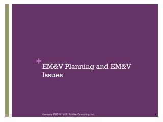 EM&V Planning and EM&V Issues