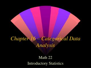 Chapter 16 – Categorical Data Analysis
