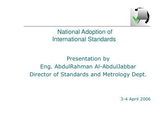 National Adoption of International Standards