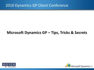 2010 Dynamics GP Client Conference