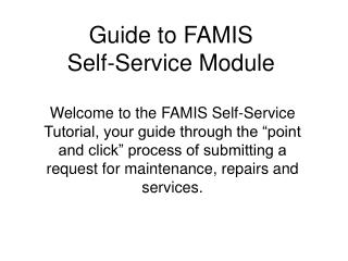 Guide to FAMIS  Self-Service Module