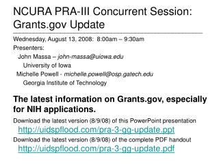 NCURA PRA-III Concurrent Session: Grants Update