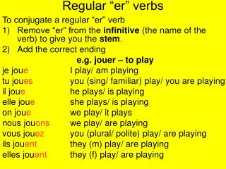 Regular �er� verbs